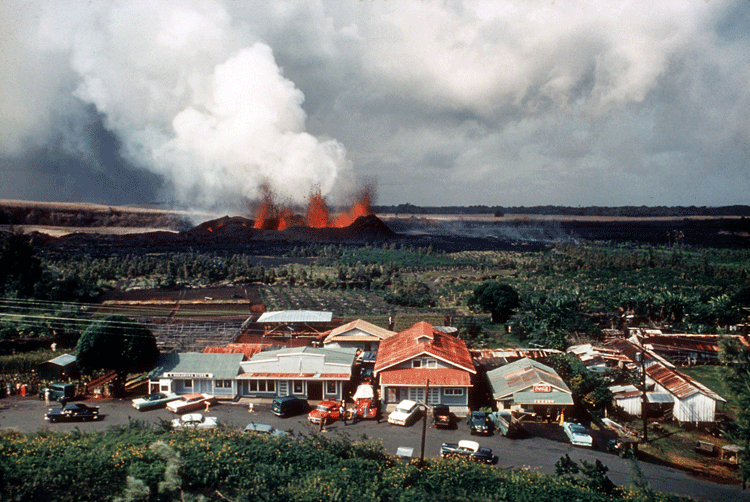 1960 kilauea eruption with kapoho in the foreground.